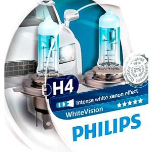 Лампы PHILIPS H4 WhiteVision Xenon Effect +60% 12342WHVSM