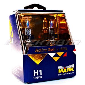 Лампы Маяк H1 55w Active Gold +60% к-т