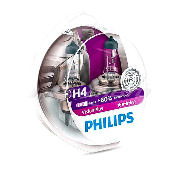 Лампы PHILIPS H4 +60% VisionPlus 12342VPS2