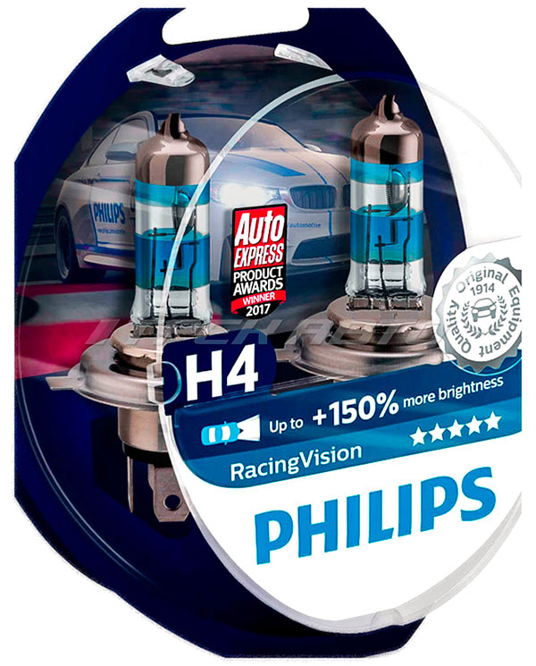 Лампы PHILIPS H4 Racing Vision +150% 12342RVS2